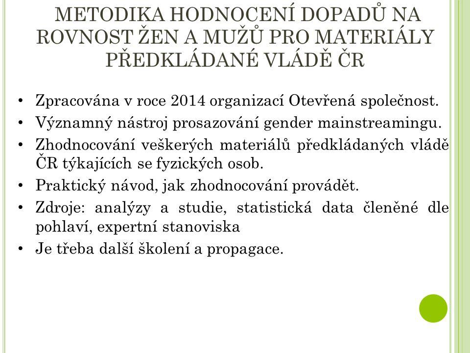 METODIKA HODNOCENÍ DOPADŮ NA ROVNOST ŽEN A MUŽŮ PRO MATERIÁLY PŘEDKLÁDANÉ VLÁDĚ ČR Zpracována v roce 2014 organizací Otevřená společnost.