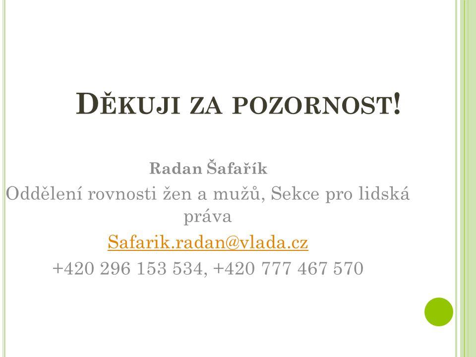 D ĚKUJI ZA POZORNOST ! Radan Šafařík Oddělení rovnosti žen a mužů, Sekce pro lidská práva Safarik.radan@vlada.cz +420 296 153 534, +420 777 467 570