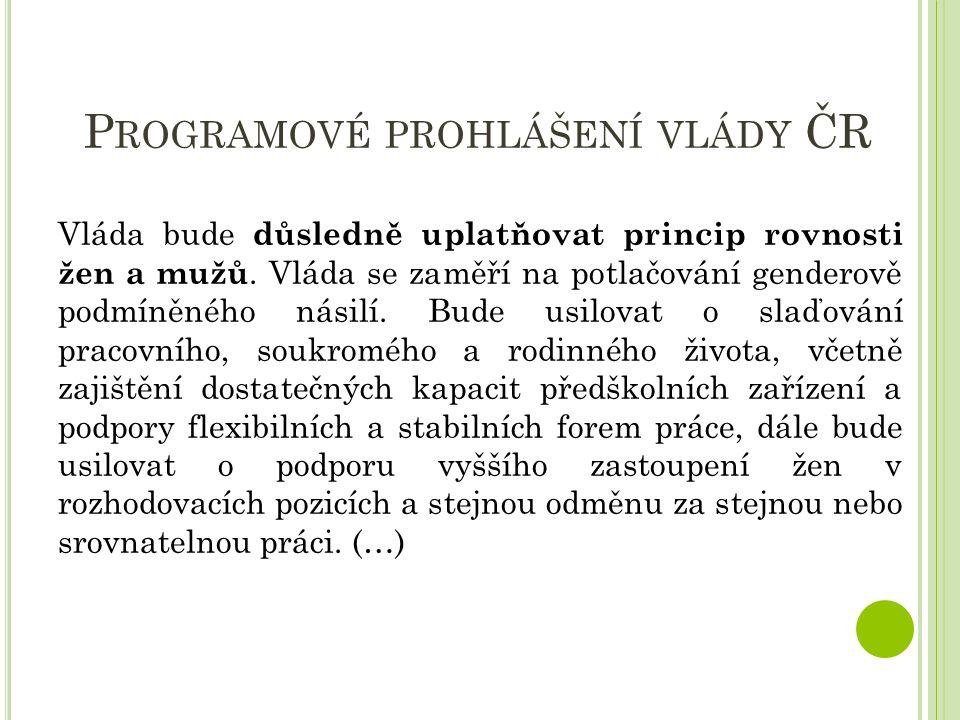 P ROGRAMOVÉ PROHLÁŠENÍ VLÁDY ČR Vláda bude důsledně uplatňovat princip rovnosti žen a mužů.