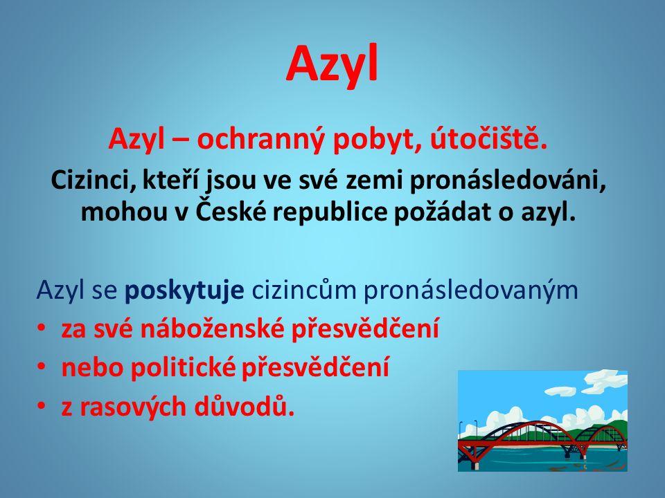Azyl Azyl – ochranný pobyt, útočiště.