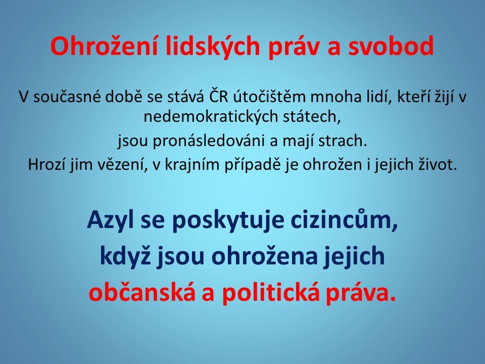 Ohrožení lidských práv a svobod V současné době se stává ČR útočištěm mnoha lidí, kteří žijí v nedemokratických státech, jsou pronásledováni a mají strach.