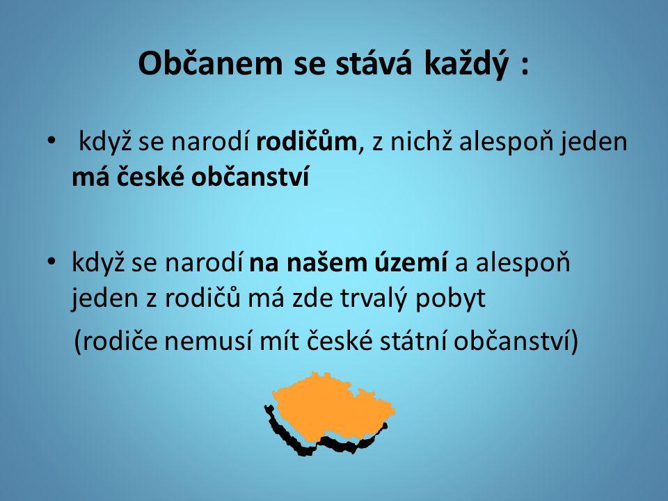 Občanem se stává každý : když se narodí rodičům, z nichž alespoň jeden má české občanství když se narodí na našem území a alespoň jeden z rodičů má zde trvalý pobyt (rodiče nemusí mít české státní občanství)