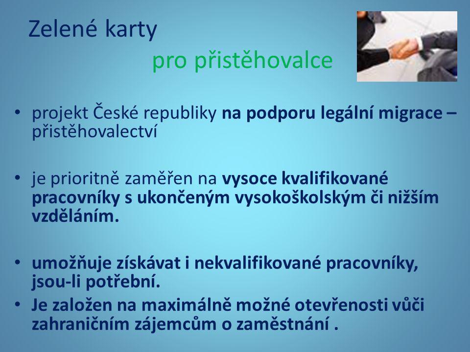 Zelené karty pro přistěhovalce projekt České republiky na podporu legální migrace – přistěhovalectví je prioritně zaměřen na vysoce kvalifikované pracovníky s ukončeným vysokoškolským či nižším vzděláním.