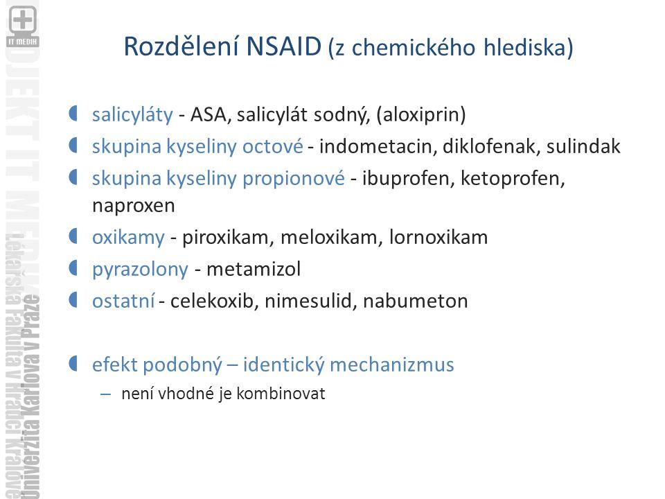 Rozdělení NSAID (z chemického hlediska)  salicyláty - ASA, salicylát sodný, (aloxiprin)  skupina kyseliny octové - indometacin, diklofenak, sulindak  skupina kyseliny propionové - ibuprofen, ketoprofen, naproxen  oxikamy - piroxikam, meloxikam, lornoxikam  pyrazolony - metamizol  ostatní - celekoxib, nimesulid, nabumeton  efekt podobný – identický mechanizmus – není vhodné je kombinovat