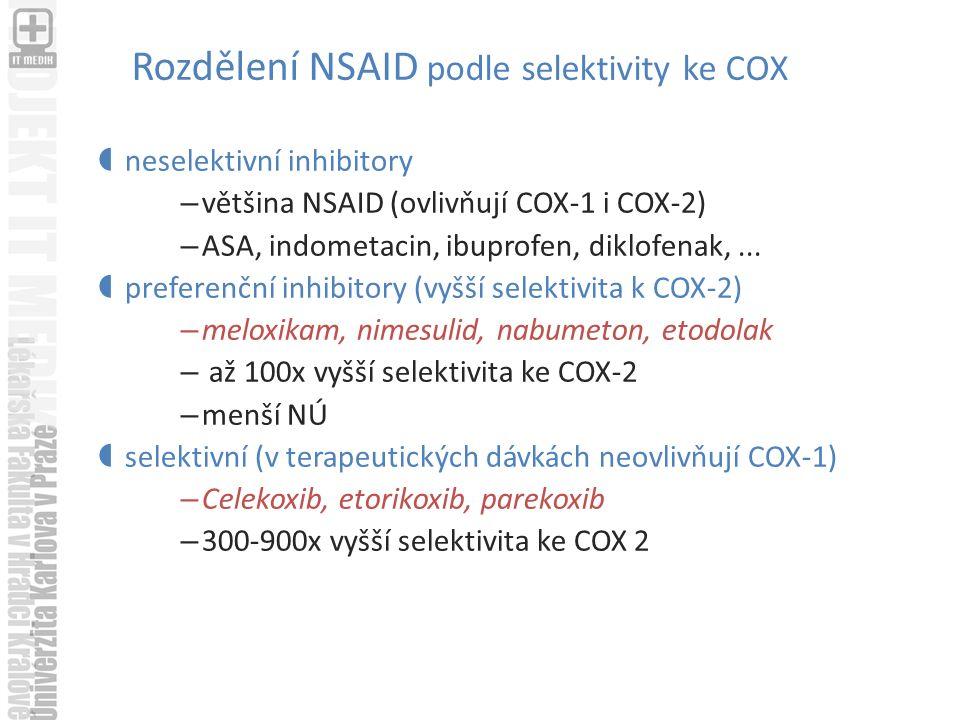 Rozdělení NSAID podle selektivity ke COX  neselektivní inhibitory – většina NSAID (ovlivňují COX-1 i COX-2) – ASA, indometacin, ibuprofen, diklofenak,...