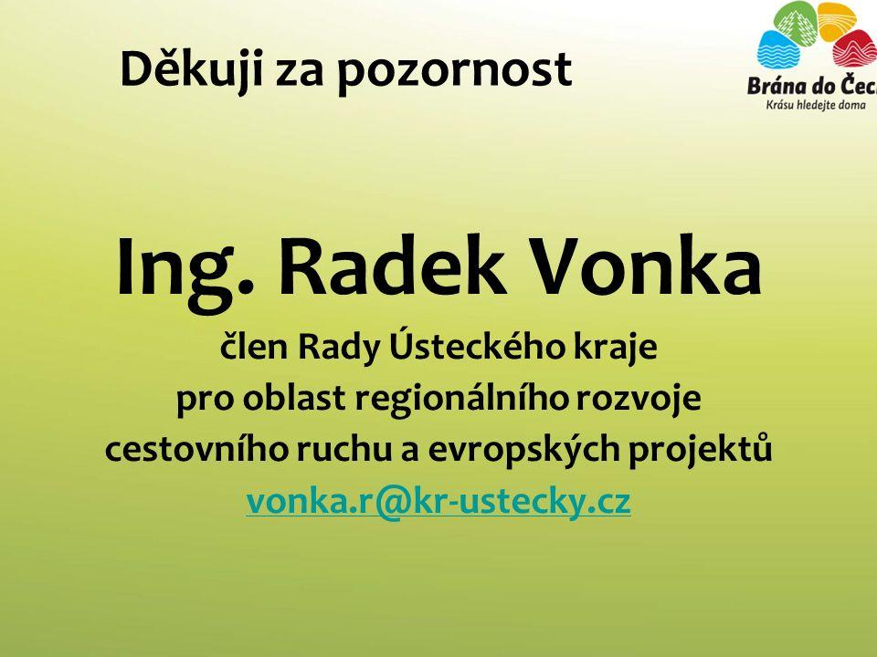Děkuji za pozornost Ing. Radek Vonka člen Rady Ústeckého kraje pro oblast regionálního rozvoje cestovního ruchu a evropských projektů vonka.r@kr-ustec