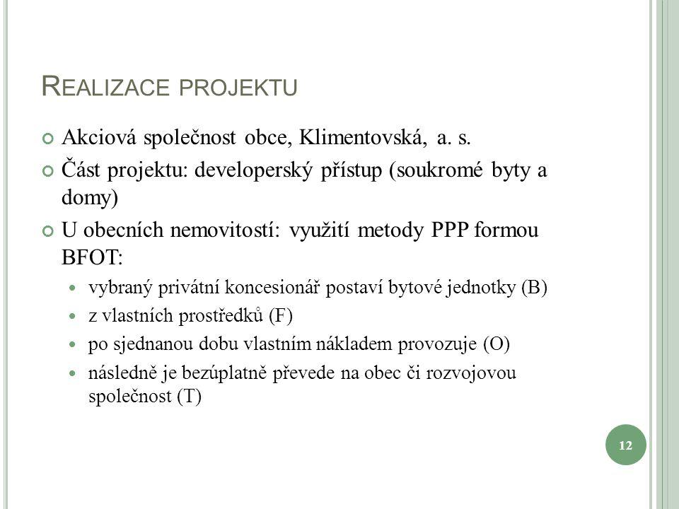 R EALIZACE PROJEKTU Akciová společnost obce, Klimentovská, a. s. Část projektu: developerský přístup (soukromé byty a domy) U obecních nemovitostí: vy