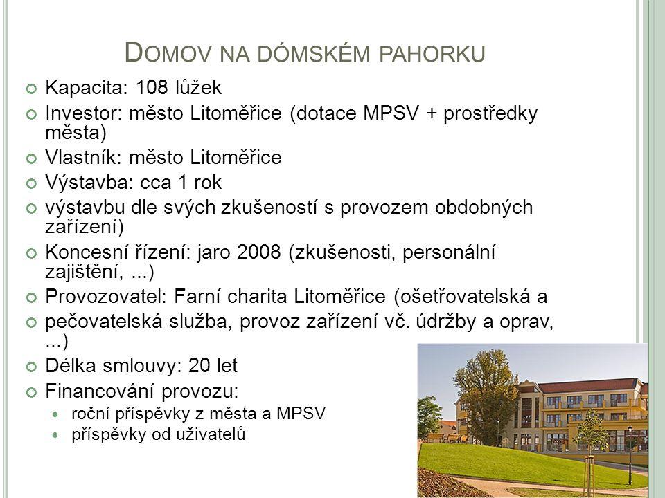 D OMOV NA DÓMSKÉM PAHORKU Kapacita: 108 lůžek Investor: město Litoměřice (dotace MPSV + prostředky města) Vlastník: město Litoměřice Výstavba: cca 1 r