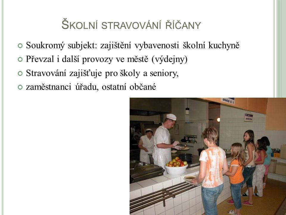Š KOLNÍ STRAVOVÁNÍ ŘÍČANY Soukromý subjekt: zajištění vybavenosti školní kuchyně Převzal i další provozy ve městě (výdejny) Stravování zajišťuje pro š