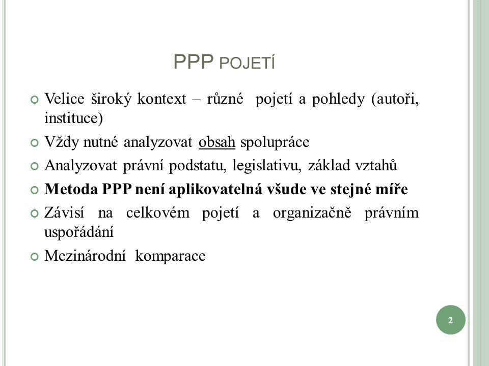 PPP POJETÍ Velice široký kontext – různé pojetí a pohledy (autoři, instituce) Vždy nutné analyzovat obsah spolupráce Analyzovat právní podstatu, legislativu, základ vztahů Metoda PPP není aplikovatelná všude ve stejné míře Závisí na celkovém pojetí a organizačně právním uspořádání Mezinárodní komparace 2
