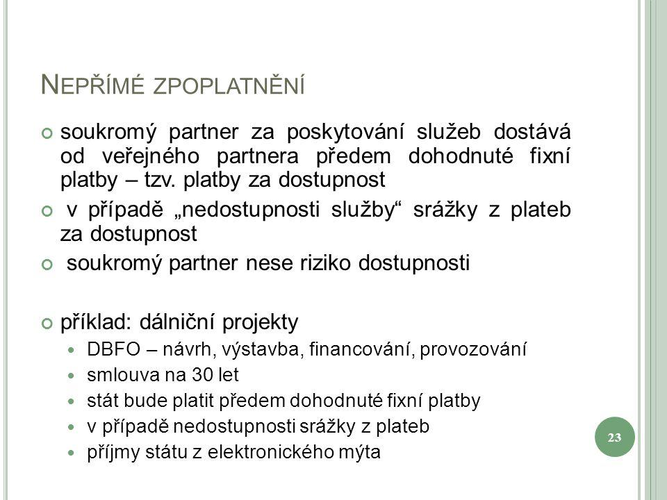 N EPŘÍMÉ ZPOPLATNĚNÍ soukromý partner za poskytování služeb dostává od veřejného partnera předem dohodnuté fixní platby – tzv. platby za dostupnost v