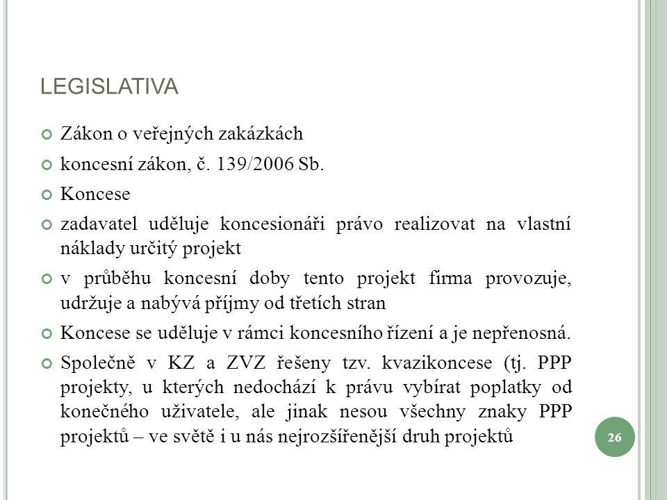 LEGISLATIVA Zákon o veřejných zakázkách koncesní zákon, č.