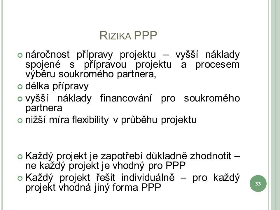 R IZIKA PPP náročnost přípravy projektu – vyšší náklady spojené s přípravou projektu a procesem výběru soukromého partnera, délka přípravy vyšší náklady financování pro soukromého partnera nižší míra flexibility v průběhu projektu Každý projekt je zapotřebí důkladně zhodnotit – ne každý projekt je vhodný pro PPP Každý projekt řešit individuálně – pro každý projekt vhodná jiný forma PPP 33