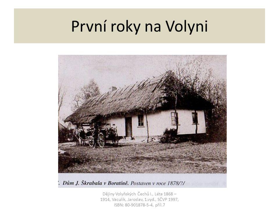 První roky na Volyni Dějiny Volyňských Čechů I., Léta 1868 – 1914, Vaculík, Jaroslav, 1.vyd., SČVP 1997, ISBN: 80-901878-5-4, příl.7