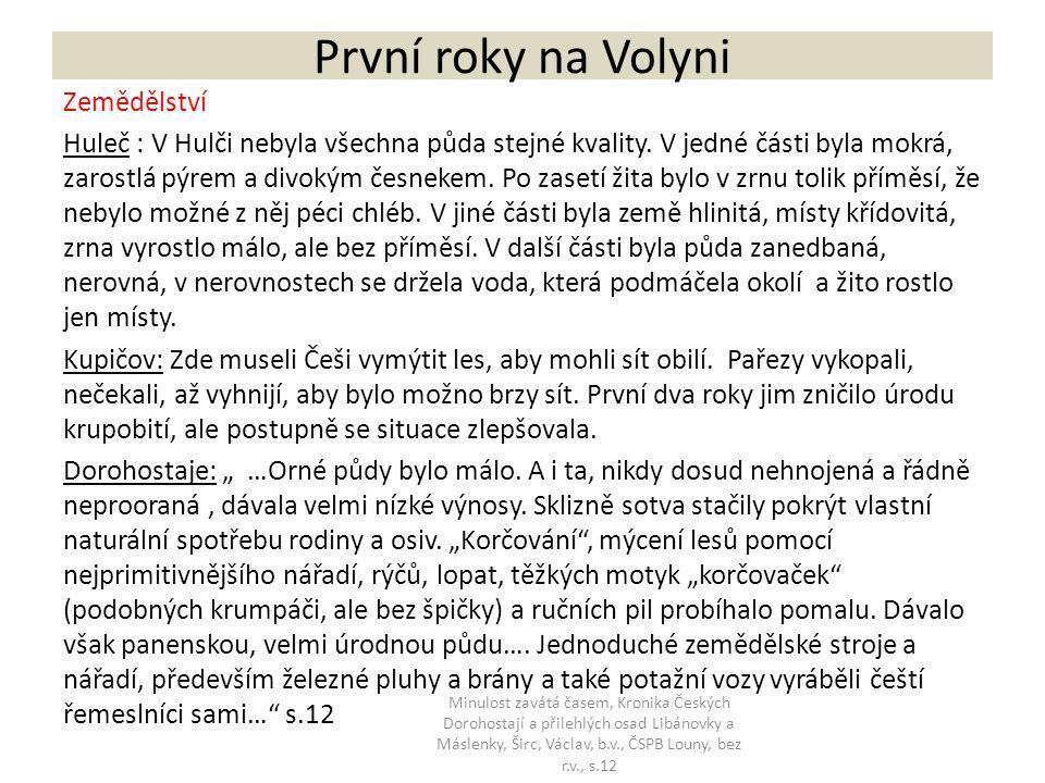 První roky na Volyni Zemědělství Huleč : V Hulči nebyla všechna půda stejné kvality.