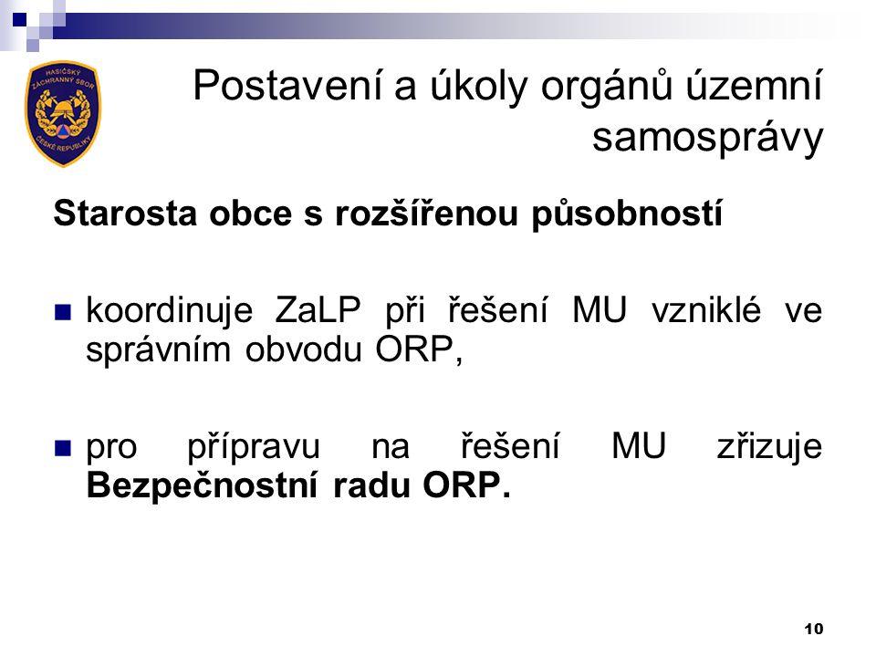 Postavení a úkoly orgánů územní samosprávy Starosta obce s rozšířenou působností koordinuje ZaLP při řešení MU vzniklé ve správním obvodu ORP, pro přípravu na řešení MU zřizuje Bezpečnostní radu ORP.
