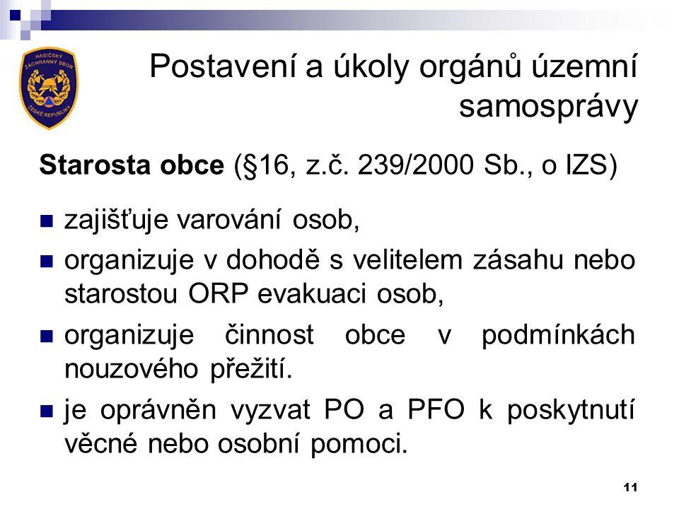 Postavení a úkoly orgánů územní samosprávy Starosta obce (§16, z.č.