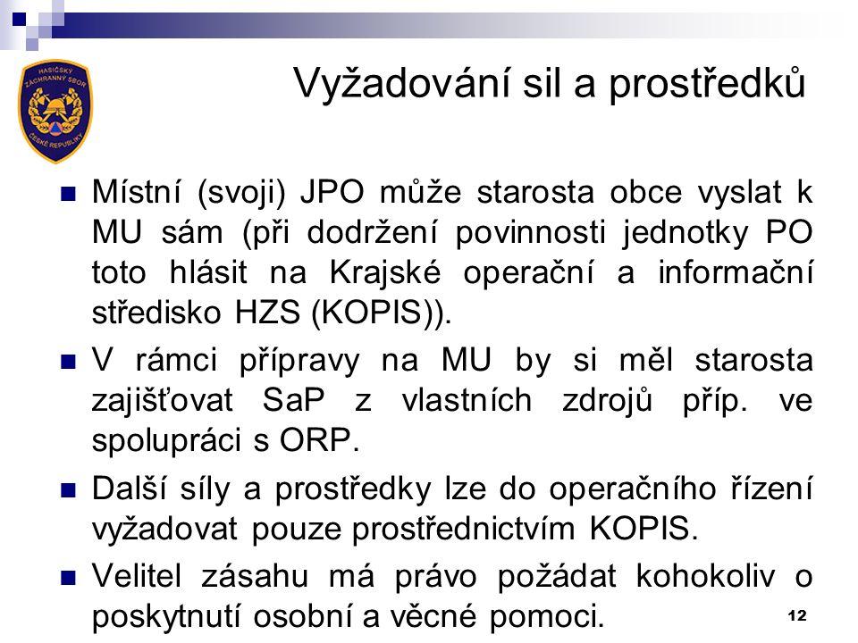 Vyžadování sil a prostředků Místní (svoji) JPO může starosta obce vyslat k MU sám (při dodržení povinnosti jednotky PO toto hlásit na Krajské operační a informační středisko HZS (KOPIS)).
