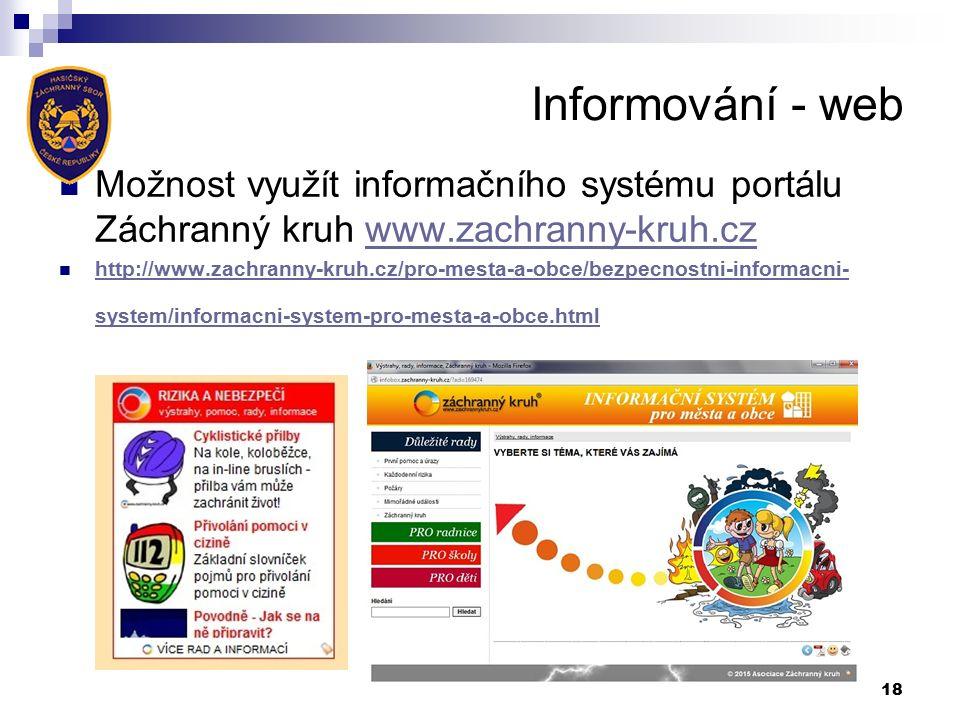 Informování - web Možnost využít informačního systému portálu Záchranný kruh www.zachranny-kruh.czwww.zachranny-kruh.cz http://www.zachranny-kruh.cz/pro-mesta-a-obce/bezpecnostni-informacni- system/informacni-system-pro-mesta-a-obce.html http://www.zachranny-kruh.cz/pro-mesta-a-obce/bezpecnostni-informacni- system/informacni-system-pro-mesta-a-obce.html 18