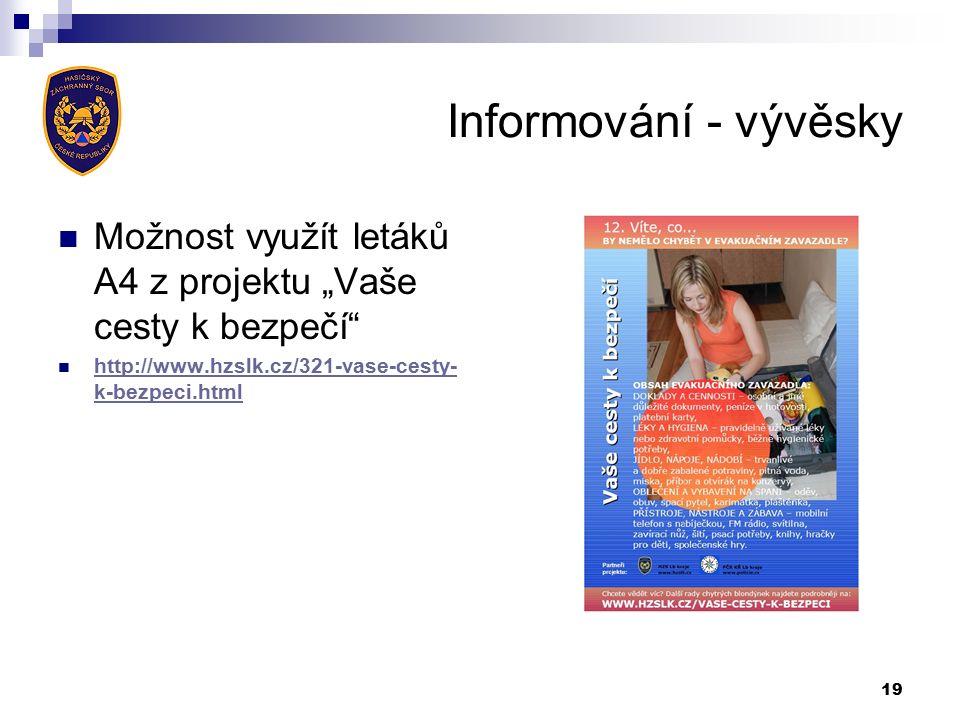 """Informování - vývěsky Možnost využít letáků A4 z projektu """"Vaše cesty k bezpečí http://www.hzslk.cz/321-vase-cesty- k-bezpeci.html http://www.hzslk.cz/321-vase-cesty- k-bezpeci.html 19"""