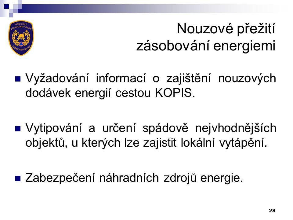 Nouzové přežití zásobování energiemi Vyžadování informací o zajištění nouzových dodávek energií cestou KOPIS.