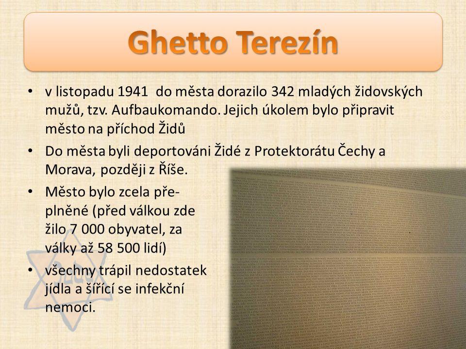 v listopadu 1941 do města dorazilo 342 mladých židovských mužů, tzv. Aufbaukomando. Jejich úkolem bylo připravit město na příchod Židů Do města byli d
