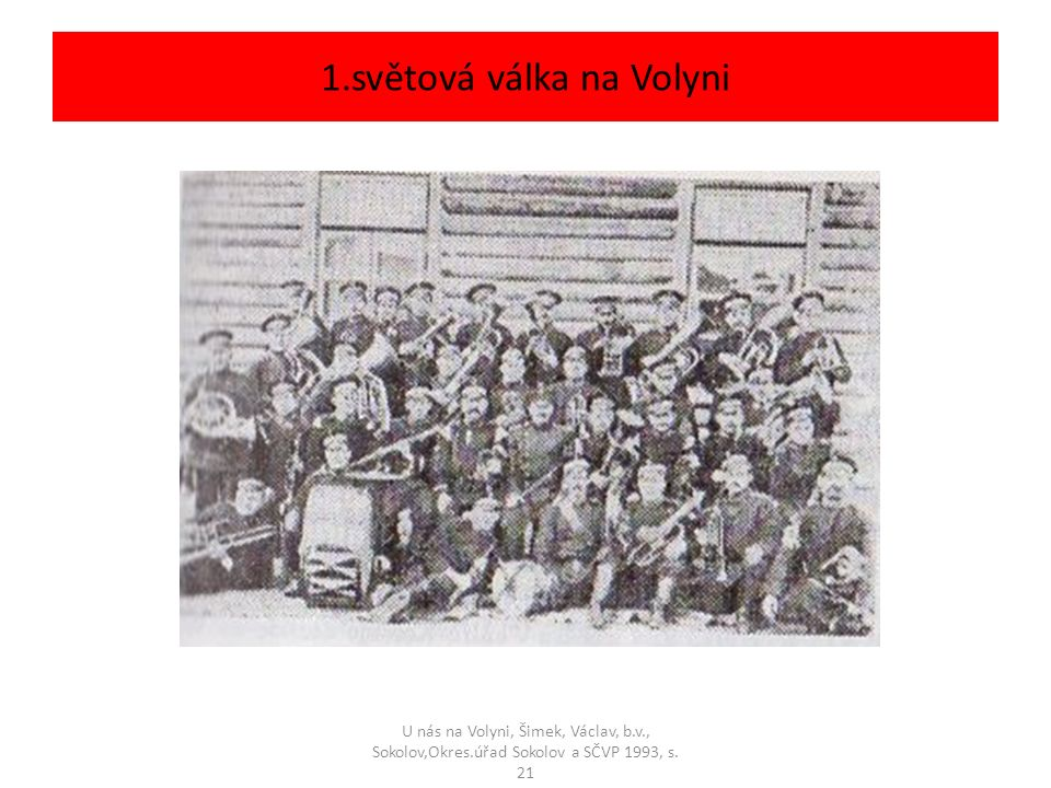 1.světová válka na Volyni U nás na Volyni, Šimek, Václav, b.v., Sokolov,Okres.úřad Sokolov a SČVP 1993, s.