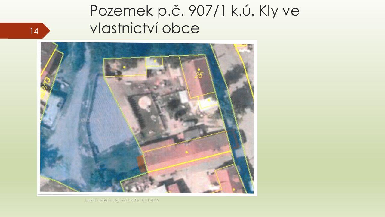Pozemek p.č. 907/1 k.ú. Kly ve vlastnictví obce Jednání zastupitelstva obce Kly 10.11.2015 14