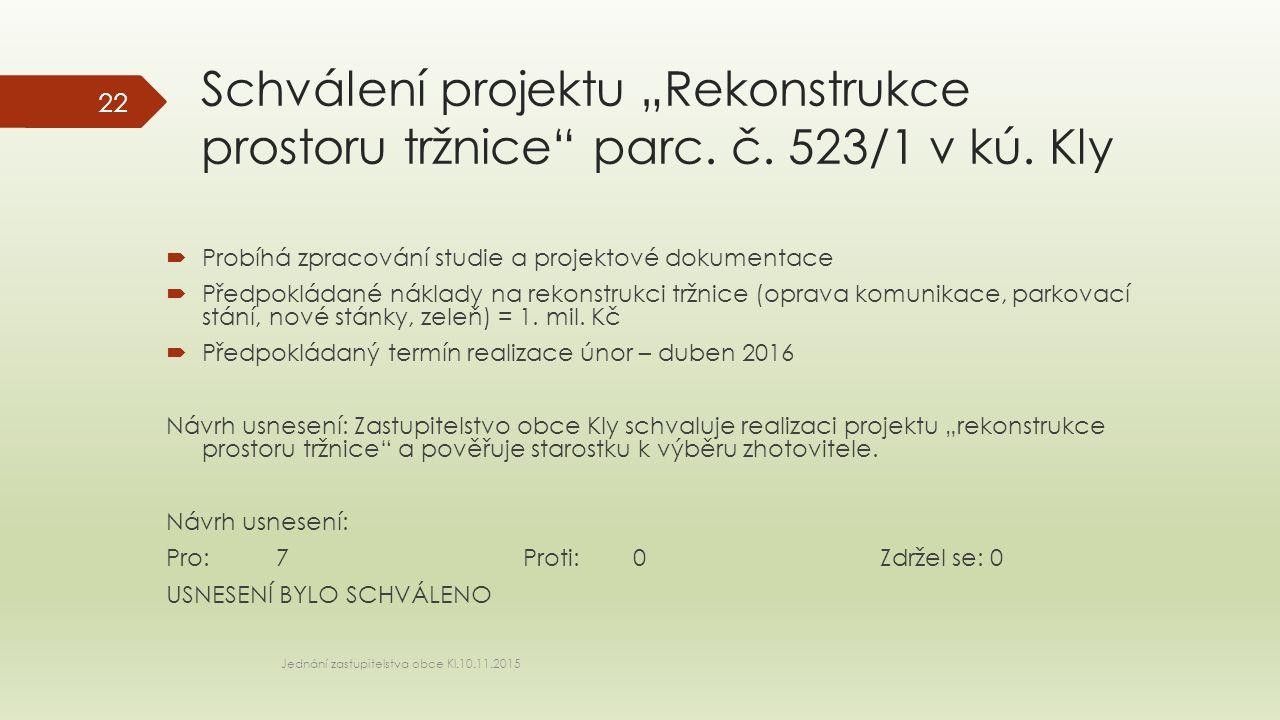 """Schválení projektu """"Rekonstrukce prostoru tržnice"""" parc. č. 523/1 v kú. Kly  Probíhá zpracování studie a projektové dokumentace  Předpokládané nákla"""