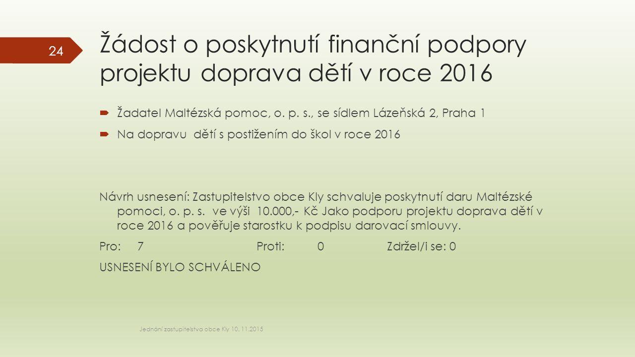 Žádost o poskytnutí finanční podpory projektu doprava dětí v roce 2016 Jednání zastupitelstva obce Kly 10. 11.2015 24  Žadatel Maltézská pomoc, o. p.