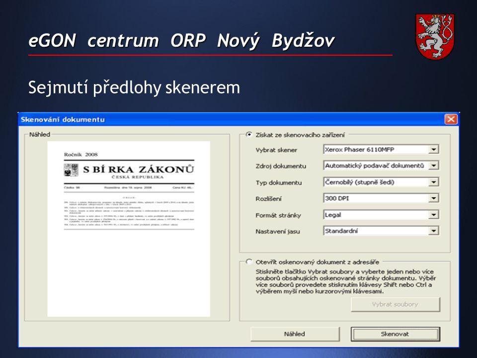 eGON centrum ORP Nový Bydžov Sejmutí předlohy skenerem