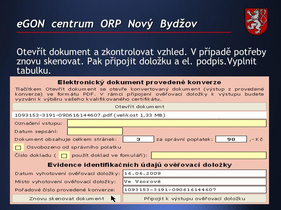 eGON centrum ORP Nový Bydžov Otevřít dokument a zkontrolovat vzhled.