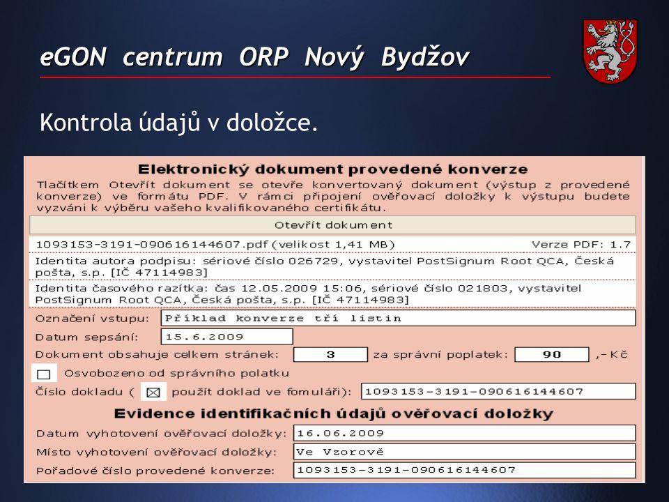 eGON centrum ORP Nový Bydžov Kontrola údajů v doložce.