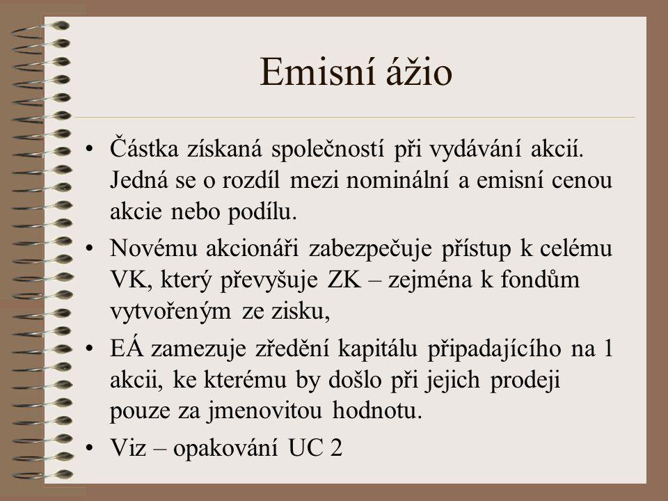 Emisní ážio Částka získaná společností při vydávání akcií.