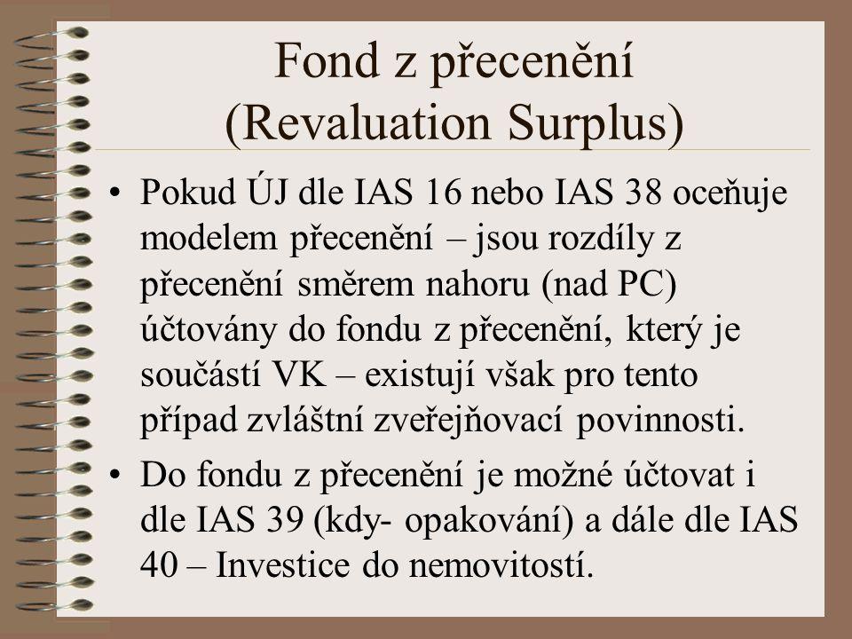 Fond z přecenění (Revaluation Surplus) Pokud ÚJ dle IAS 16 nebo IAS 38 oceňuje modelem přecenění – jsou rozdíly z přecenění směrem nahoru (nad PC) účtovány do fondu z přecenění, který je součástí VK – existují však pro tento případ zvláštní zveřejňovací povinnosti.