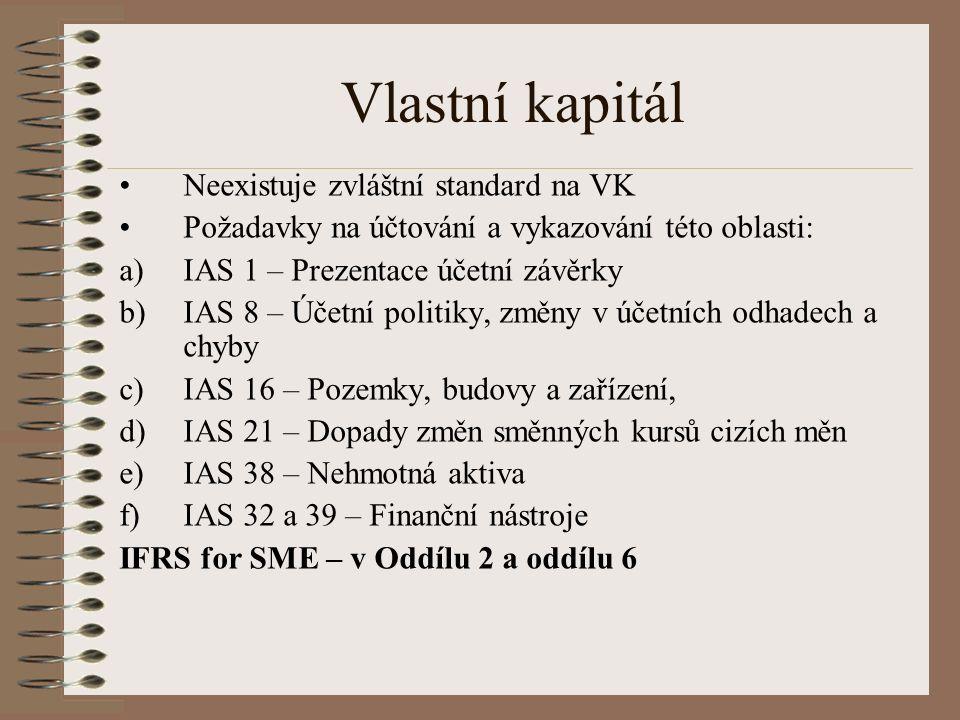 Vlastní kapitál Neexistuje zvláštní standard na VK Požadavky na účtování a vykazování této oblasti: a)IAS 1 – Prezentace účetní závěrky b)IAS 8 – Účetní politiky, změny v účetních odhadech a chyby c)IAS 16 – Pozemky, budovy a zařízení, d)IAS 21 – Dopady změn směnných kursů cizích měn e)IAS 38 – Nehmotná aktiva f)IAS 32 a 39 – Finanční nástroje IFRS for SME – v Oddílu 2 a oddílu 6