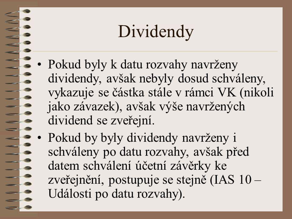 Dividendy Pokud byly k datu rozvahy navrženy dividendy, avšak nebyly dosud schváleny, vykazuje se částka stále v rámci VK (nikoli jako závazek), avšak výše navržených dividend se zveřejní.