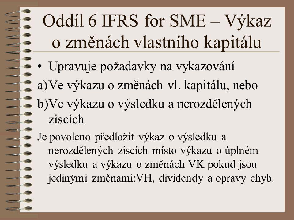 Oddíl 6 IFRS for SME – Výkaz o změnách vlastního kapitálu Upravuje požadavky na vykazování a)Ve výkazu o změnách vl.