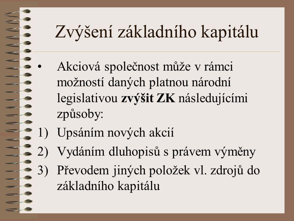 Zvýšení základního kapitálu Akciová společnost může v rámci možností daných platnou národní legislativou zvýšit ZK následujícími způsoby: 1)Upsáním nových akcií 2)Vydáním dluhopisů s právem výměny 3)Převodem jiných položek vl.