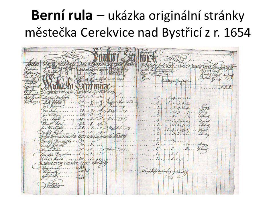 Berní rula – ukázka originální stránky městečka Cerekvice nad Bystřicí z r. 1654