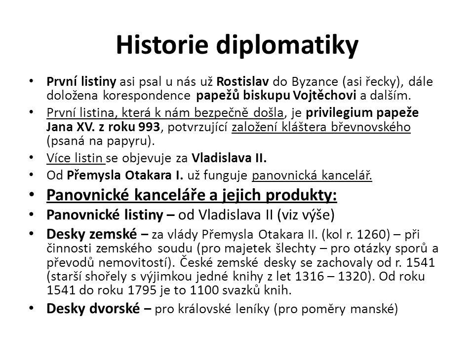 Historie diplomatiky První listiny asi psal u nás už Rostislav do Byzance (asi řecky), dále doložena korespondence papežů biskupu Vojtěchovi a dalším.