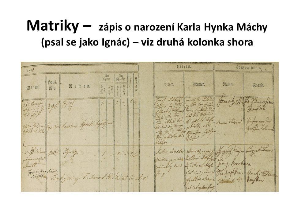 Matriky – zápis o narození Karla Hynka Máchy (psal se jako Ignác) – viz druhá kolonka shora