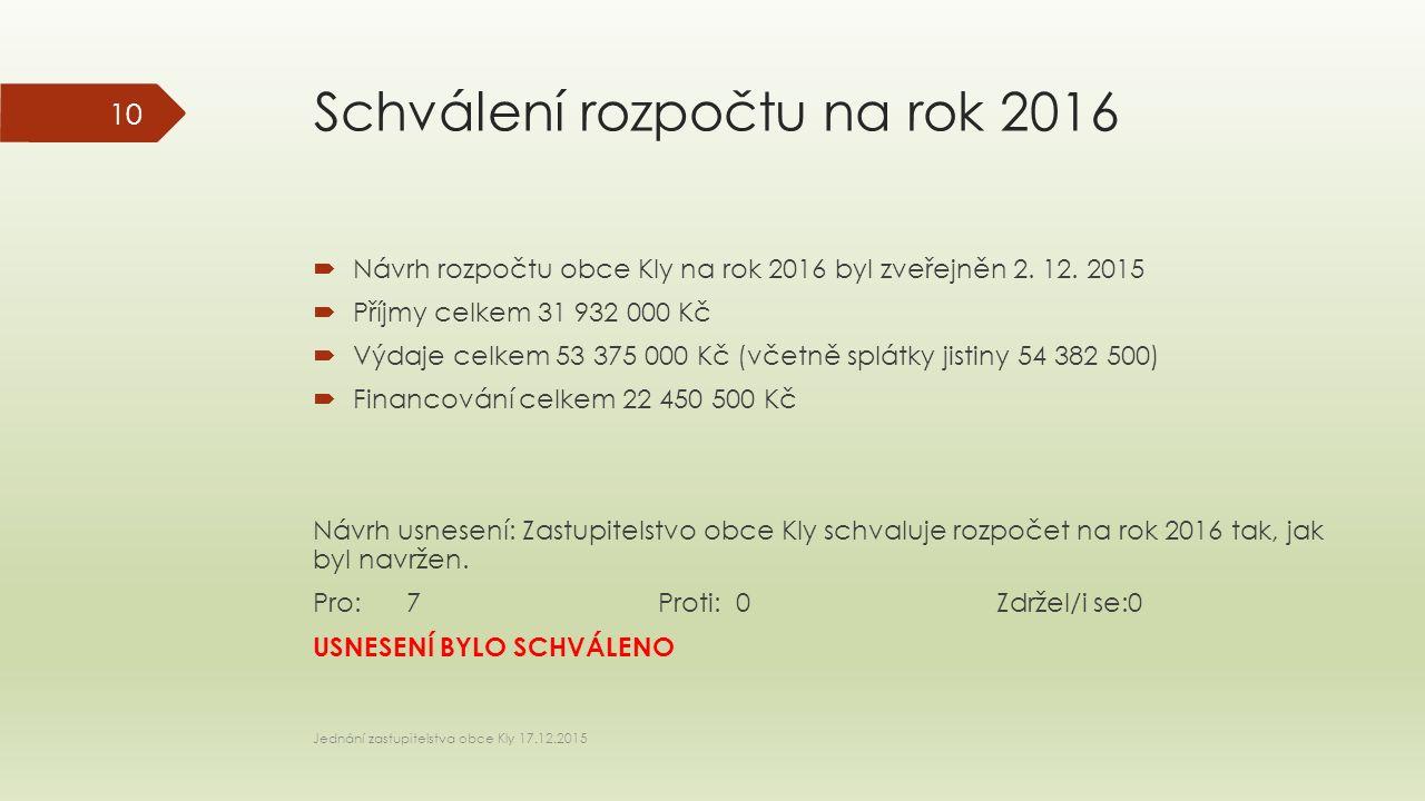 Schválení rozpočtu na rok 2016  Návrh rozpočtu obce Kly na rok 2016 byl zveřejněn 2.