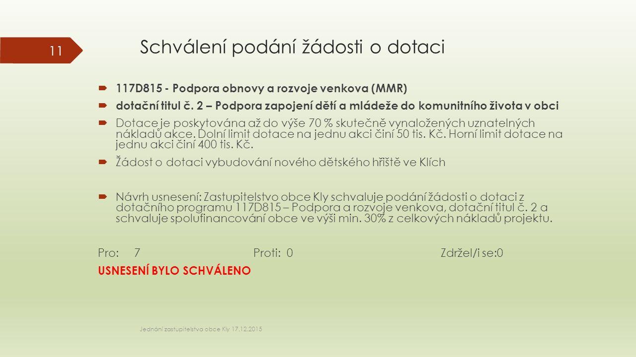 Schválení podání žádosti o dotaci  117D815 - Podpora obnovy a rozvoje venkova (MMR)  dotační titul č.