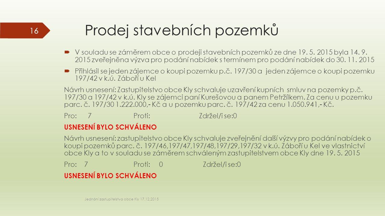 Prodej stavebních pozemků  V souladu se záměrem obce o prodeji stavebních pozemků ze dne 19.