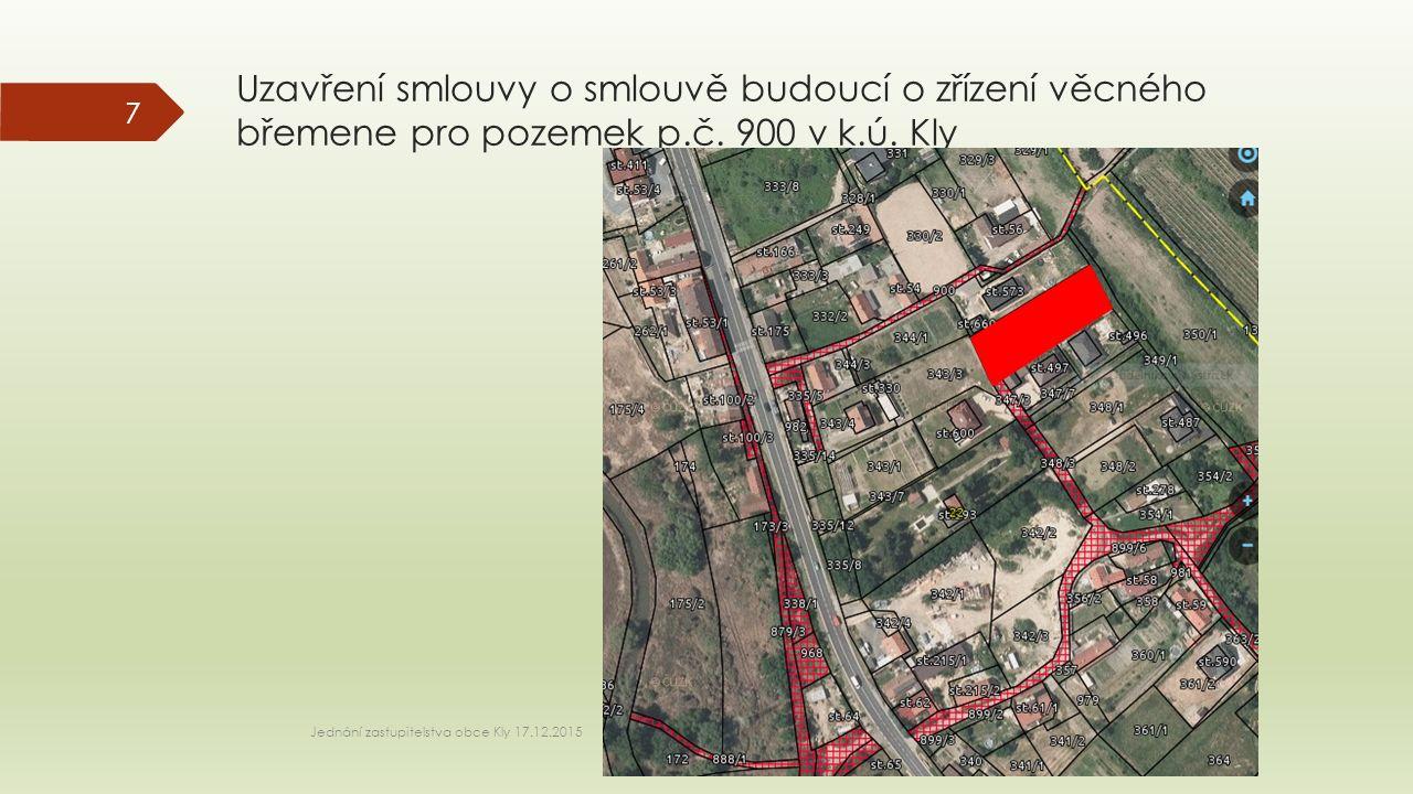Uzavření smlouvy o smlouvě budoucí o zřízení věcného břemene pro pozemek p.č.