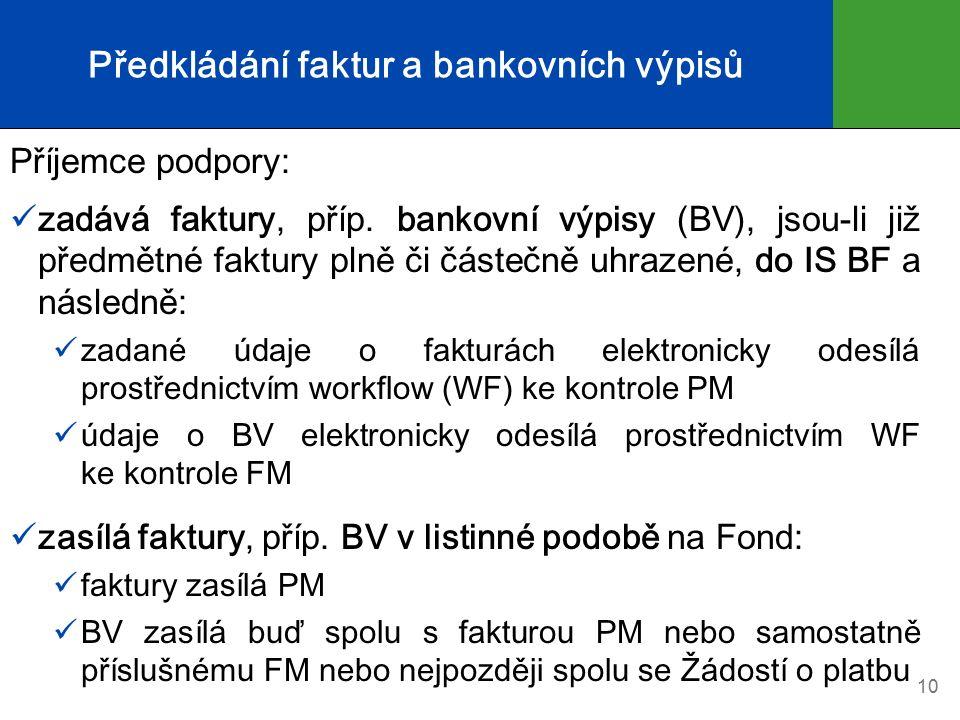 Předkládání faktur a bankovních výpisů Příjemce podpory: zadává faktury, příp.