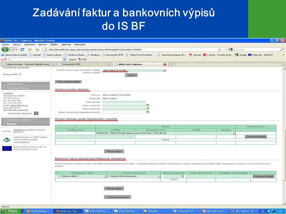 Zadávání faktur a bankovních výpisů do IS BF 12