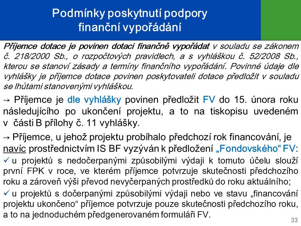Podmínky poskytnutí podpory finanční vypořádání Příjemce dotace je povinen dotaci finančně vypořádat v souladu se zákonem č.