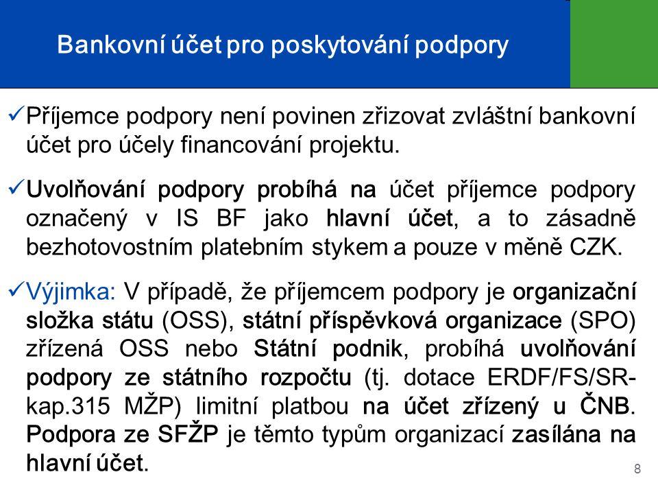 Bankovní účet pro poskytování podpory Příjemce podpory není povinen zřizovat zvláštní bankovní účet pro účely financování projektu.